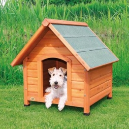 natura Hundehütte mit Satteldach lasiertes Kiefernholz S