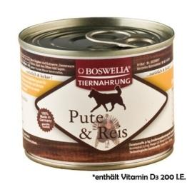 ( 0.74 Euro pro 100g ) Boswelia Tiernahrung Pute und Reis Nassfutter für Hunde 200g -
