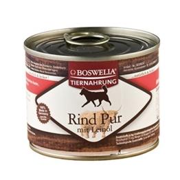 ( 0.80 Euro pro 100g ) Boswelia Tiernahrung Rind pur mit Leinöl Nassfutter für Hunde 200g -