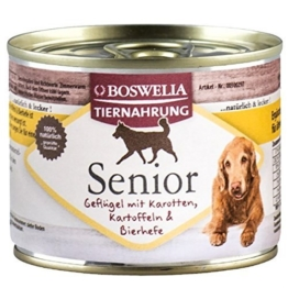 ( 0,96 Euro pro 100g ) Boswelia Tiernahrung Senior Nassfutter für Hunde 6 x 200 g -
