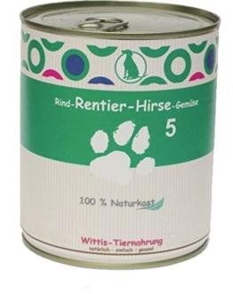 6 x 800 g - Wittis Deftig-Fleischgerichte für Hunde - garantiert OHNE künstliche Vitamine!!- Rind - Rentier - Hirse - Gemüse - Dosenfutter ohne Zusätze -