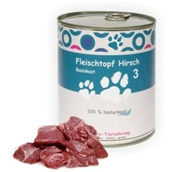 6 x 800 g - Wittis Fleischdosen für Hunde - garantiert OHNE künstliche Vitamine!!-Fleisch pur - Hirsch - pur - Barf in Dosen - Dosenfutter ohne Zusätze -