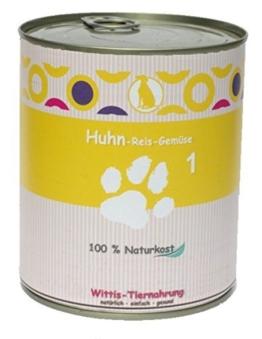 6 x 800 g - Wittis Sensitiv-Fleischgerichte für Hunde - garantiert OHNE künstliche Vitamine!!- Huhn - Reis - Gemüse - Dosenfutter ohne Zusätze -