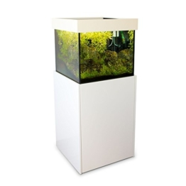 Axperto Design-Aquarium 60x60x57 weiß als Süß- und Meerwasser-Aquarium 200 l (Cubus Süßwasser beschichtet), Komplettset mit Unterschrank -