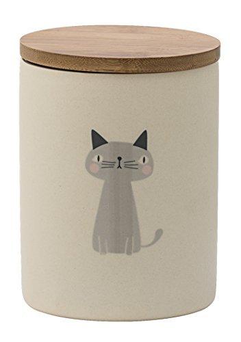 """Bloomingville Vorratsdose """"Katze"""" mit Holzdeckel für Leckerlies Tiernahrung Katzensnacks Höhe 13 cm creme -"""