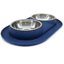 Bonza Doppel Hundenapf Hundefutterstation, Edelstahl-Wasser-und Futternäpfe mit Spill und rutschfeste Silikon-Basis. Premium Quality Feeder Lösung für kleine Hunde und Katzen (Marineblau) -