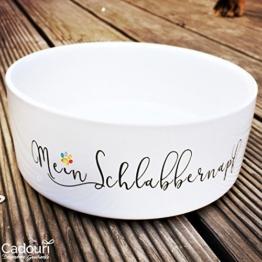 CADOURI - Keramik Hundenapf Futternapf Wassernapf mit Schriftzug MEIN SCHLABBERNAPF - 1.300 ml -