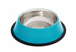 Edelstahl Wasser- u. Futternapf ca. 1 Liter, Größe M, türkis m. feinen Streifen -