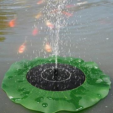 Egomall Wasserpumpe Brunnen Blatt Solar Schwimmender Lotus Teich-Garten Dekoration -