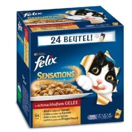 Felix Katzennassfutter Sensations Fleisch Mix 100 g, 24er Pack (24 x 100 g) -