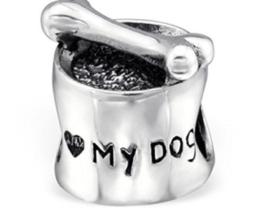 I love my dog Futternapf und Knochen Charm Bead In 925Prägung 925Sterling Silber -