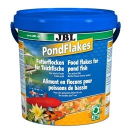 JBL 40199, Hauptfutter für alle Teichfische, Futterflocken PondFlakes, 1er Pack (1 x 10.5 l) -