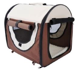 PawHut D1-0100 faltbare Transportbox für Haustier, kaffeebraun/creme -