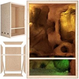 Repiterra® Hoch-Terrarium aus Holz 60cmx120cmx60cm mit Seitenbelüftung aus OSB Platten mit Floatglas -
