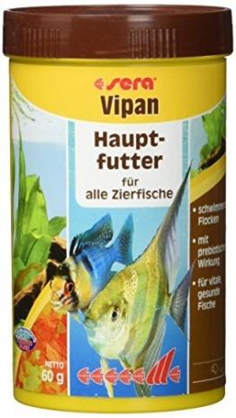 sera 00150 vipan 250 ml - der Klassiker - Hauptfutter für alle Zierfische in Gesellschaftsaquarien, Flockenfutter, für schönere und größere Fische -