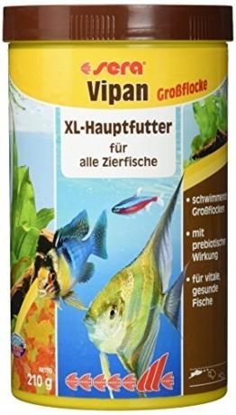 sera 00175 vipan Großflocken 1000 ml -  der Klassiker - Hauptfutter für alle Zierfische in Gesellschaftsaquarien, Flockenfutter, für schönere und größere Fische -