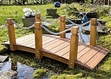 Teich-Brücke aus Holz für Gartenteich -