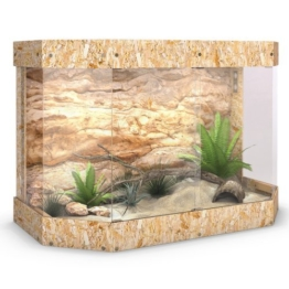 Terrarium Holzterrarium Holz Panorama Reptil Schildkröte Glas Schiebetür 120x80x60cm -