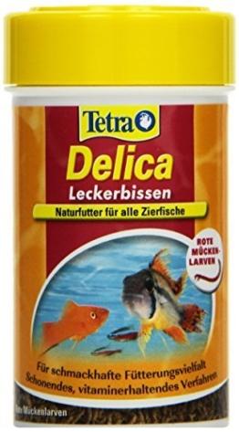 TetraDelica Bloodworms (Naturfutter für Zierfische, enthält zu 100% gefriergetrocknete rote Mückenlarven), 100 ml Dose -