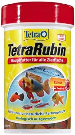 TetraRubin Hauptfutter (für Zierfische, für intensive Farbenpracht mit natürlichen Farbverstärkern, plus Präbiotika für verbesserte Körperfunktionen und Futterverwertung), 100 ml Dose -