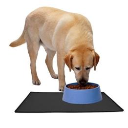 Tiernahrung Wasserdichten Silikon-Anti-Rutsch-Matte Schalen Matte Schalen Matte PET Hund Katze Futternapf Matte Schalen Matte mit einer Grenze eignet sich auch als Führungspolster (L, Schwarz) -