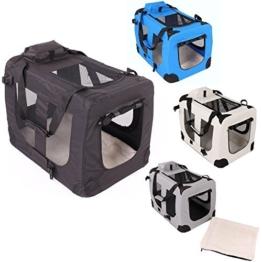 Transportbox faltbar inklusive Polster Hundebox Autobox Katzen in verschiedenen Farben & Größen (S, Schwarz) -