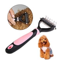 Amytech Hundebürste Hundepflege und Katze Fellpflege Bürste Unterwollbürste für Mitte bis Langhaar | (Rosa) -