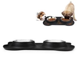 Edelstahl Fressnapf, 2 x 350ml Doppel Hundenäpfe Futternapf mit nicht kleckern rutschfesten silikon tablett matte für kleine Hunde und Katzen aller Größen von JISIMA -