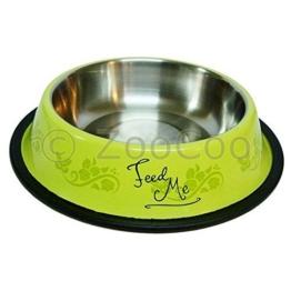 Edelstahl Futternapf Wassernapf mit Gummiring Hunde Katze Napf Freßnapf gelb (0.2 l) -