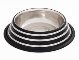 Edelstahl Napf ca. 1,8 Liter, matt-schwarz mit modernen Streifen, Größe XL, Fressnapf -