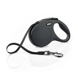 flexi Roll-Leine New Classic M-L Gurt 5 m schwarz für Hunde bis max. 50 kg -