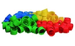 GEFLÜGELRINGE aus Kunststoff (Durchm. 16 mm) verschiedene Farben (16 mm / je 20 Stück in blau, gelb, grün und rot) -