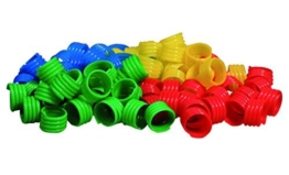 GEFLÜGELRINGE aus Kunststoff (Durchm. 18 mm) verschiedene Farben (18 mm / je 20 Stk. in blau, gelb, grün und rot) -