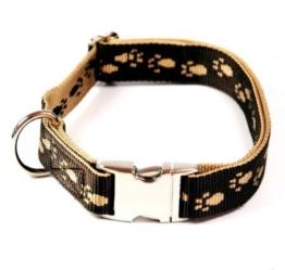 Hundehalsband, Alu-Max®, Soft Nylon, Braun, Beige Pfötchen, 30-50cm, 20mm, mit Zugentlastung -