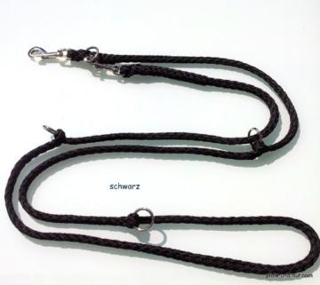 Hundeleine Doppelleine 2,80m 4fach verstellbar schwarz -