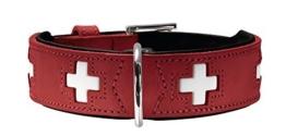 Hunter 41867 HundehalsbandSwiss, Nickel,Ökoleder, rot/schwarz -
