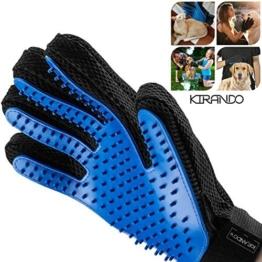Kirando's Premium Fellpflege-Handschuh | besonders effiziente und schonende Tierhaar-Entfernung! | Reinigung, Pflege & Massage in einem Schritt für ihren Hund oder Katze! -
