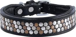 Knuffelwuff Lederhalsband Hund Hundehalsband schwarz Tucson 30-35cm -