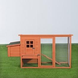 PawHut D51-034 Hühnerstall / haus / käfig Kleintierstall mit Freigehege Holz 2 Etage, natur -