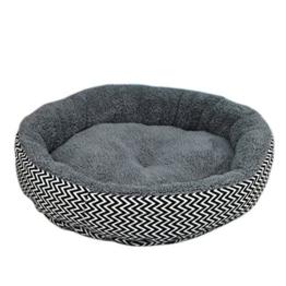 Qianle Hundebett Katzensofa Rund Leinwand Haustierbett Atmungsaktiv Abnehmbar Grau L -