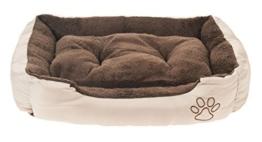 Tierbett mit Wendekissen, 61 x 48 x 18cm, innen braun, außen beige -