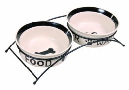 Trixie 24642 Eat-on-Feet Napf-Set, 2 × 1,6 l/ø 20 cm, weiß/schwarz -