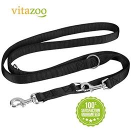 VITAZOO Premium Hundeleine in Graphitschwarz, massiv und verstellbar in 4 Längen (1,1 m - 2,1 m), für große und kräftige Hunde | 2 Jahre Zufriedenheitsgarantie | Hundeführleine, Doppelleine, geflochten -
