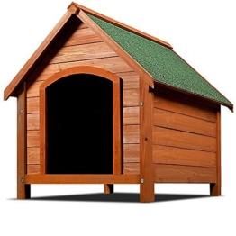 XXL Hundehütte Hundehaus Hund Echtholz Massiv Wetterfest Dachluke Spitzdach Holz -