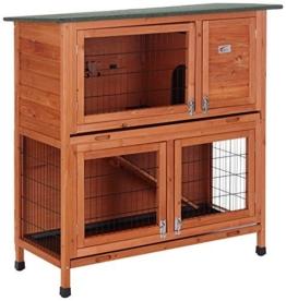 Bunny Business Stall für Kaninchen / Meerschweinchen, 2Ebenen, mit Auslauf -