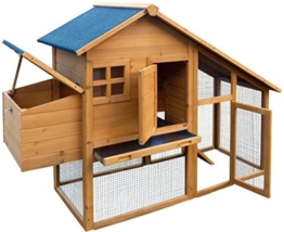 dobar 24001FSC Doppelstöckiger Hühnerstall mit Freigehege auf 2 Etagen, fuchssicher mit verstärktem Zinkdraht, FSC-Holz, Zinkwanne, Doppelboden, Plexiglas-Fenster, 173 x 66 x 120 cm -