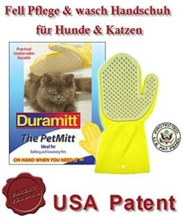 Duramitt Fellpflege, Pflege- Waschhandschuh für Katzen, Hunde, Kleintiere aus Latex mit Massage Noppen US Patent -
