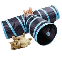 Fontic 3 Wege faltbar Kaninchen Tunnel Katzen Tunnel Spielzeug Katzentunnel mit Wackelig Ball für katzen, Hunde Kaninchen und Welpen -