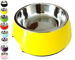 Fressnapf, Melamin-Napf 160 ml, 350 ml, 700 ml verschiedene Farben: Melamin-Napf, Edelstahl-Napf, Futternapf, robust, spuelmaschinenfest, stoss- und kratzfest, rutschfest, Edelstahlnapf herausnehmbar fuer Welpen, Hunde, Katzen by DDOXX Farbe Gelb, Größe 160 ml -
