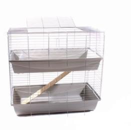 Hasenkäfig Kaninchen Meerschweinchen Nagerkäfig Kleintier 2 Ebenen 1m Doppel hellgrau -